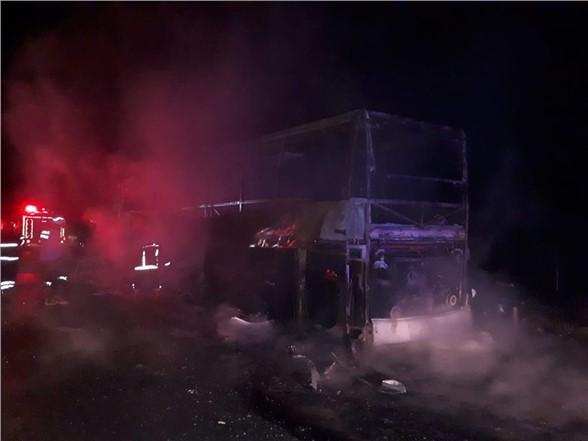 44 yolcu yanan otobüste ölümden döndü
