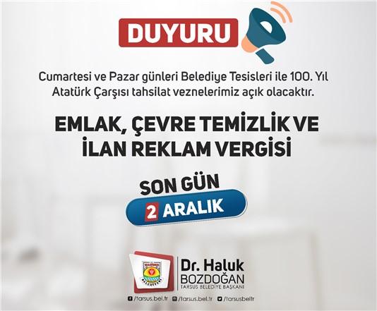 TARSUS BELEDİYESİ'NDE VEZNELER HAFTA SONU AÇIK OLACAK